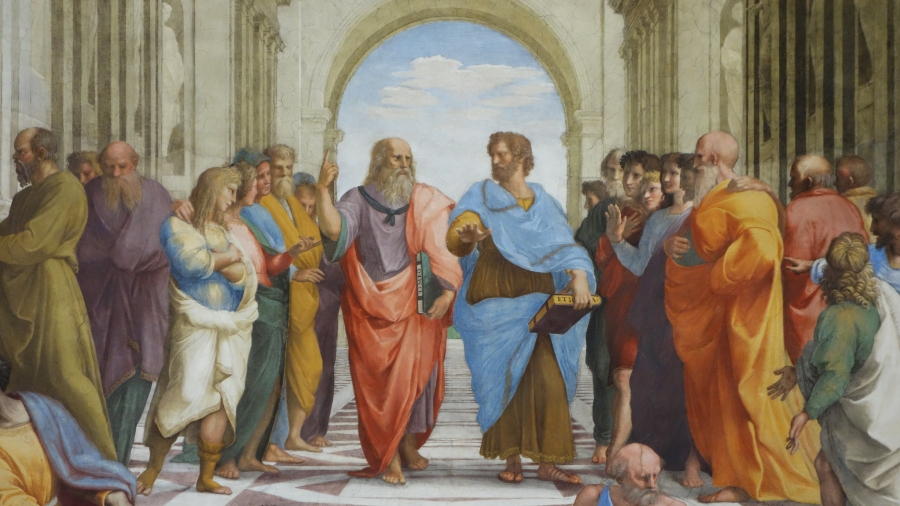 Raphael's Plato, and Aristotle are chillin' and theorizin' in The School of Athens.