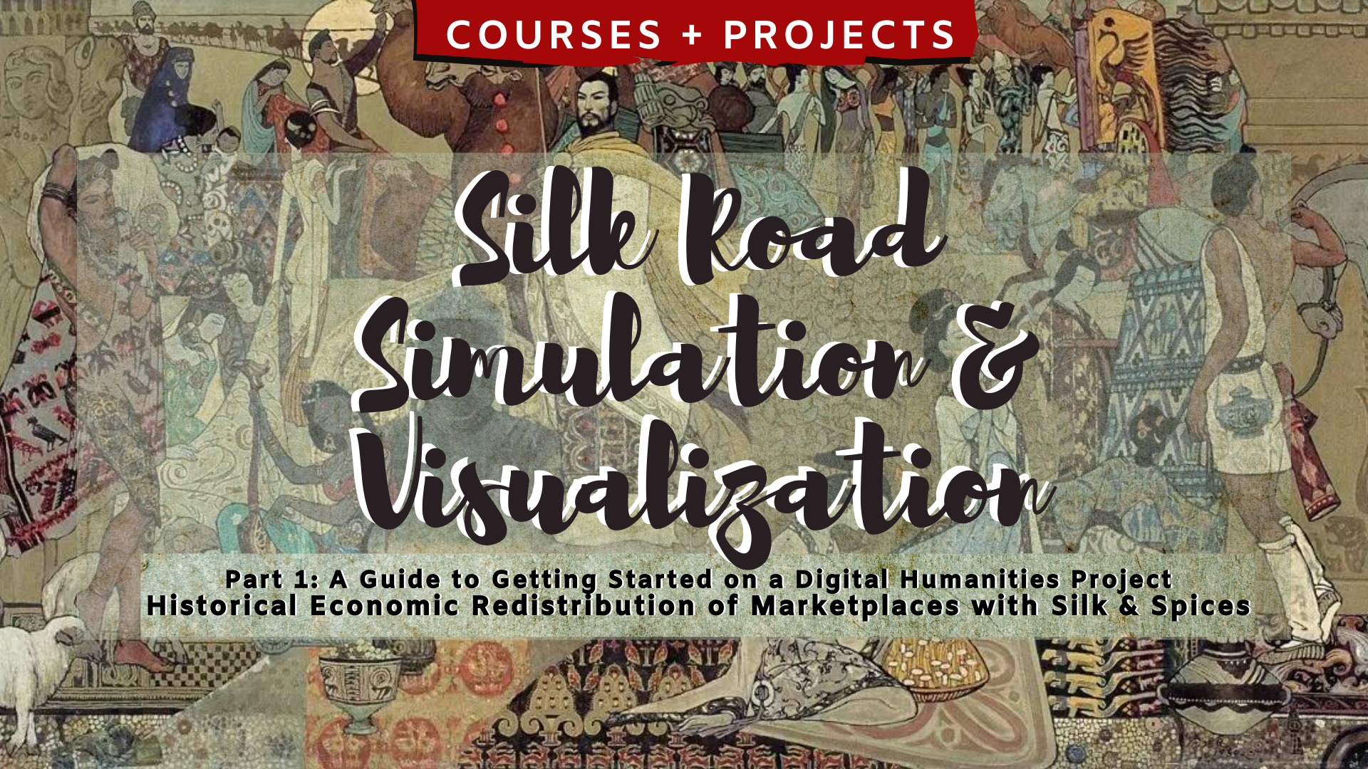 Silk Road Simulation and Visualization 2 Part 2: A Guide to Getting Started on a Digital Humanities Project Historical Economic Redistribution of Marketplaces with Silk & Spices with a background of Silk Road traveler characters