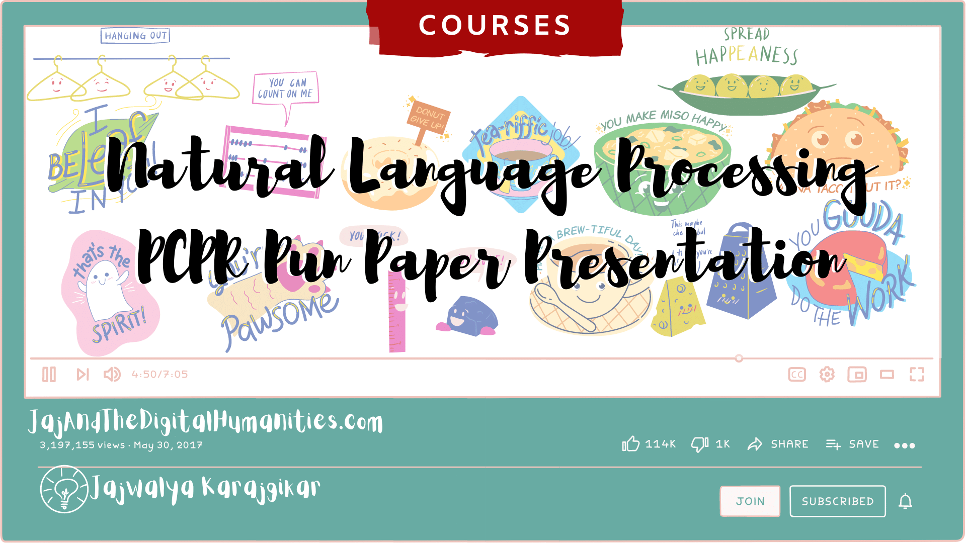 Natural Language Processing Pun Presentation Banner with food pun images set in a cartoon YouTube video format, Tagged Courses